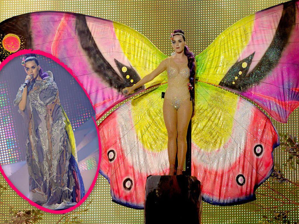 Katy Perry als Raupe und als Schmetterling