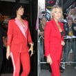 Rihanna und Blake erschienen jetzt beide in roten Anzügen
