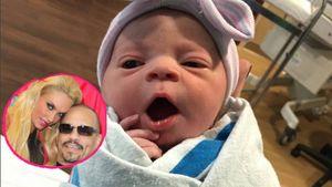 Coco Austins Baby ist da in einer Collage