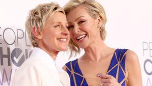 Ellen DeGeneres und Portia de Rossi lachen auf dem roten Teppich