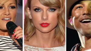 Helene Fischer, Taylor Swift und Pharrell Williams in einer Collage