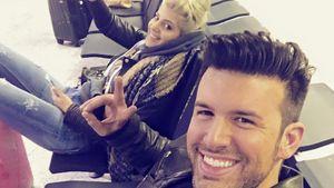 Jay Kahn und Sarah Nowak am Flughafen