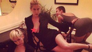Miley Cyrus posiert mit Scout und Tallulah Willis mit Nippelsternchen
