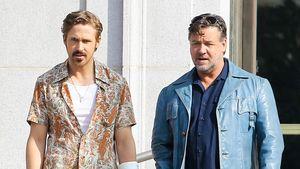 Ryan Gosling und Russell Crowe gehen zusammen auf der Straße