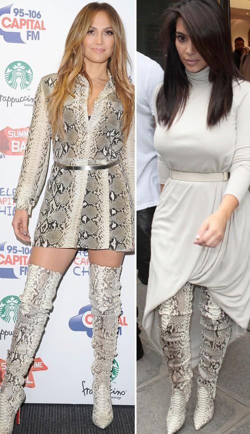 Jennifer Lopez und Kim Kardashian setzen beide auf die extremen Overknees