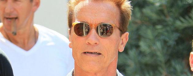 Arnold Schwarzenegger mit blauem Hemd