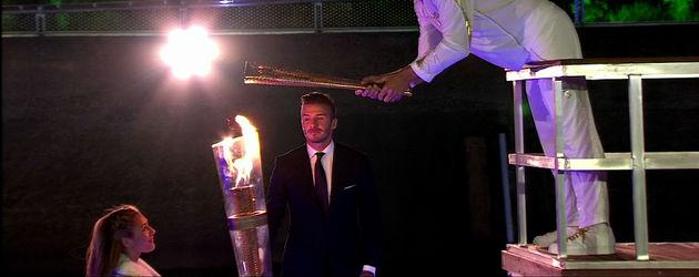 David Beckham bei Übergabe der Olympia-Fackel