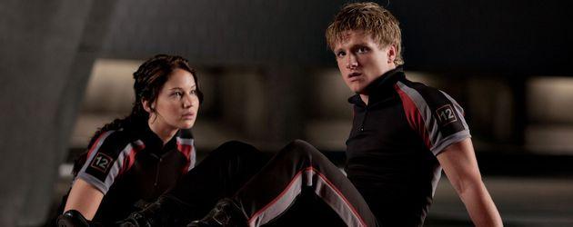 """Jennifer Lawrence und Josh Hutcherson in Trainingsanzügen bei """"Hunger Games"""""""
