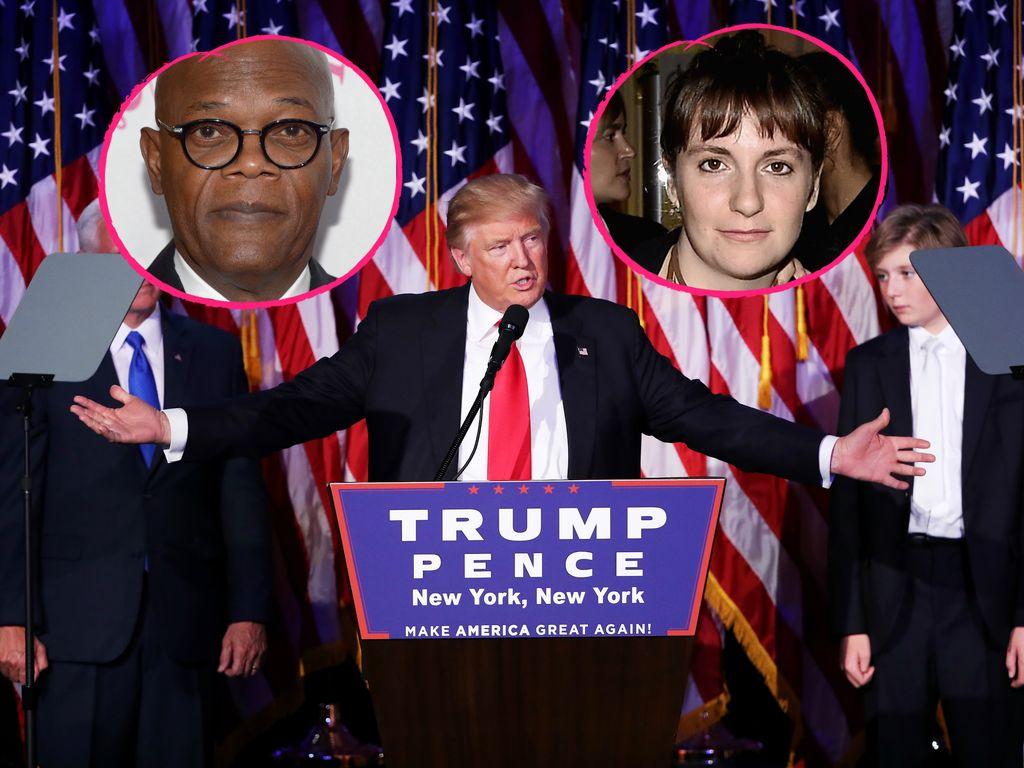 """Donald Trump und seine """"Auswanderer"""", Schauspielerin Lena Dunham und Schauspieler Samuel L. Jackson"""