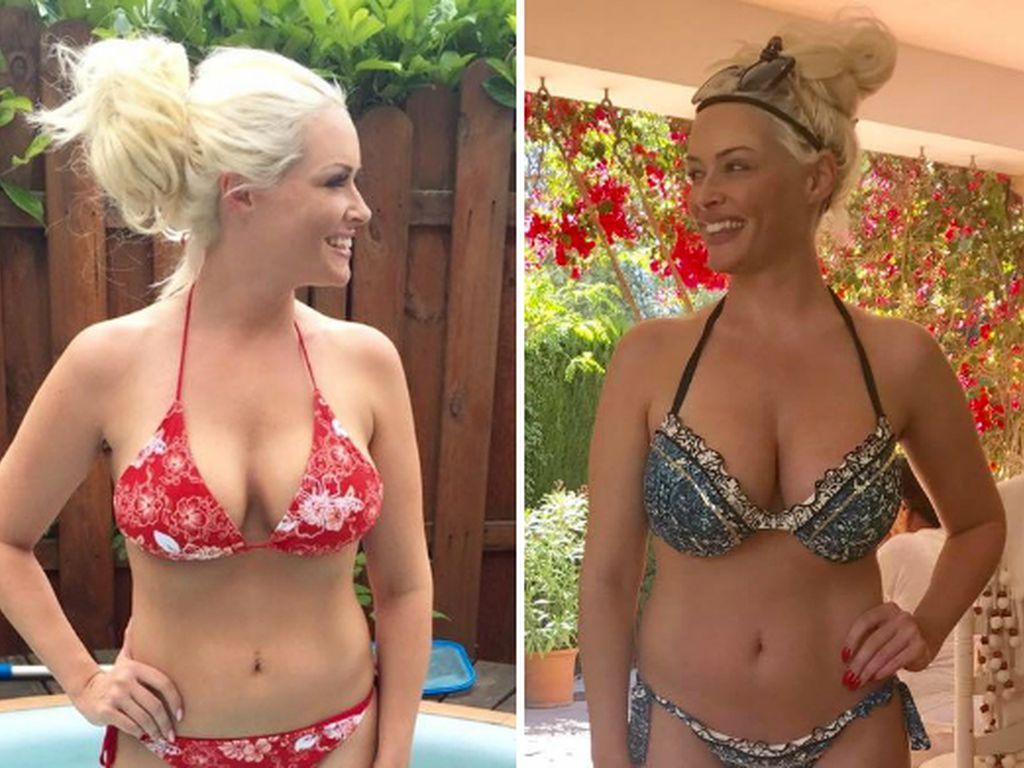 Daniela Katzenberger im Sommer 2016 (links) und im Mai 2017 (rechts)