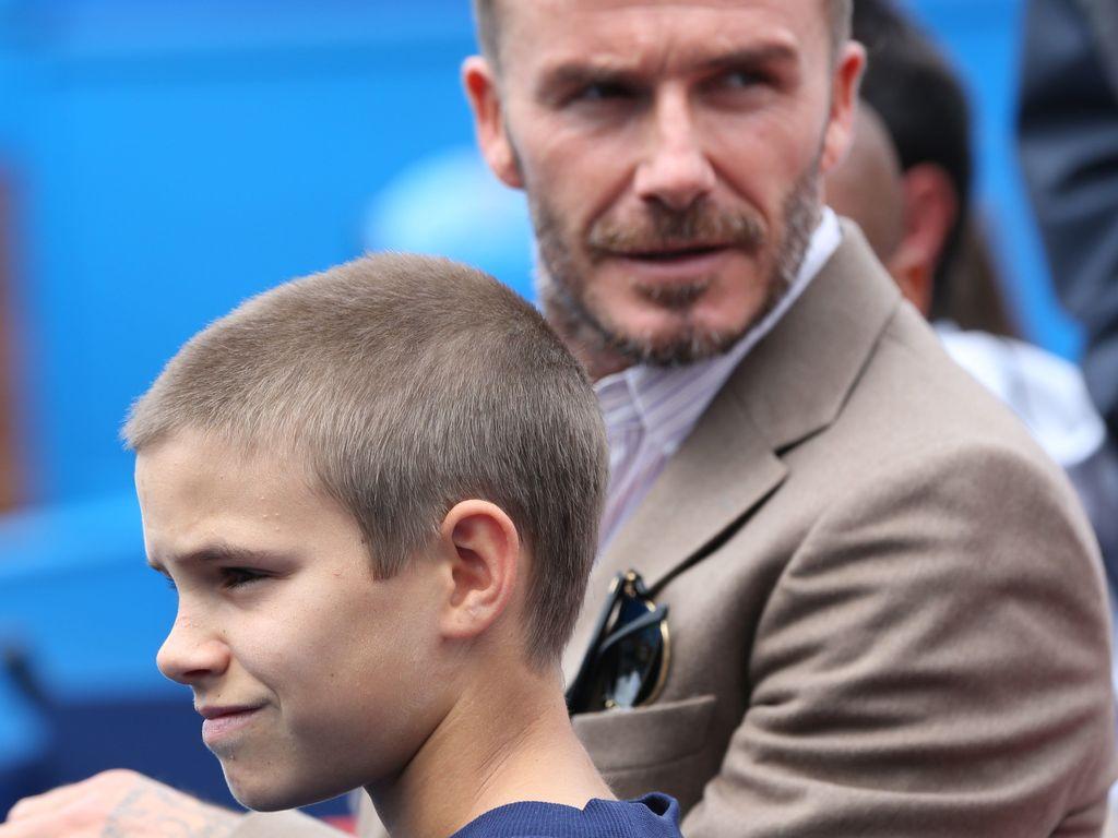 David Beckham und Romeo im Tennis-Stadion