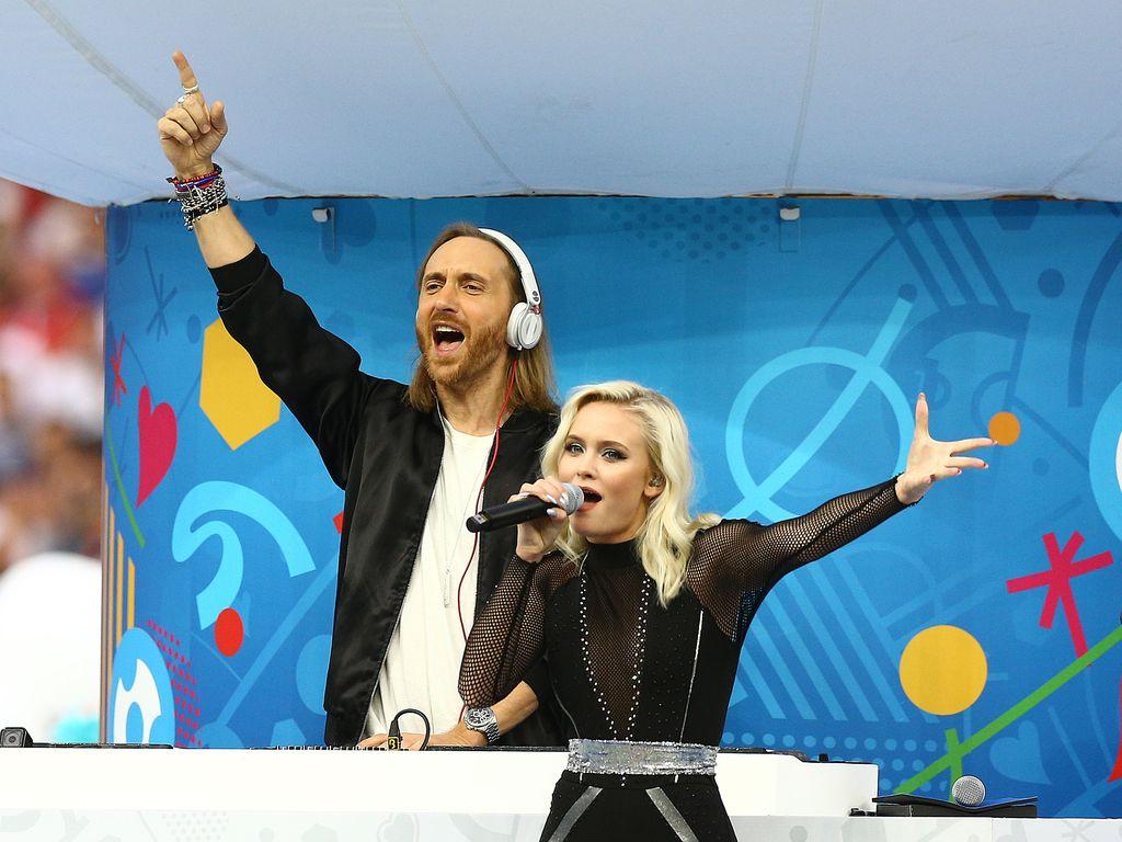 David Guetta und Zara Larsson bei der Eröffnungszeremonie der EM 2016