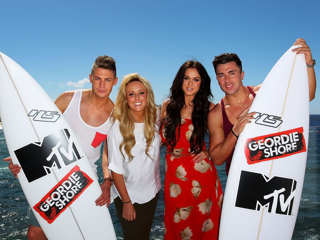 """Geordie Shore""-Stars Scott Timlin, Charlotte Letitia Crosby, Vicky Pattison und James Tindale"