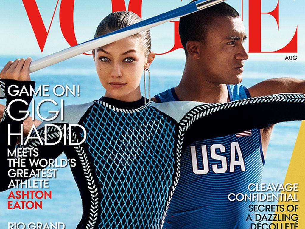 Gigi Hadid und Olympia-Athlet Ashton Eaton auf dem Cover der Vogue