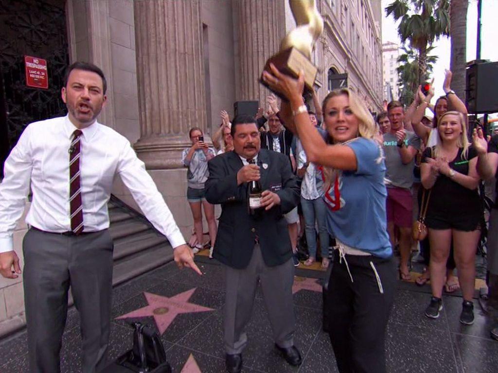 Jimmy Kimmel und Kaley Cuoco auf dem Walk of Fame
