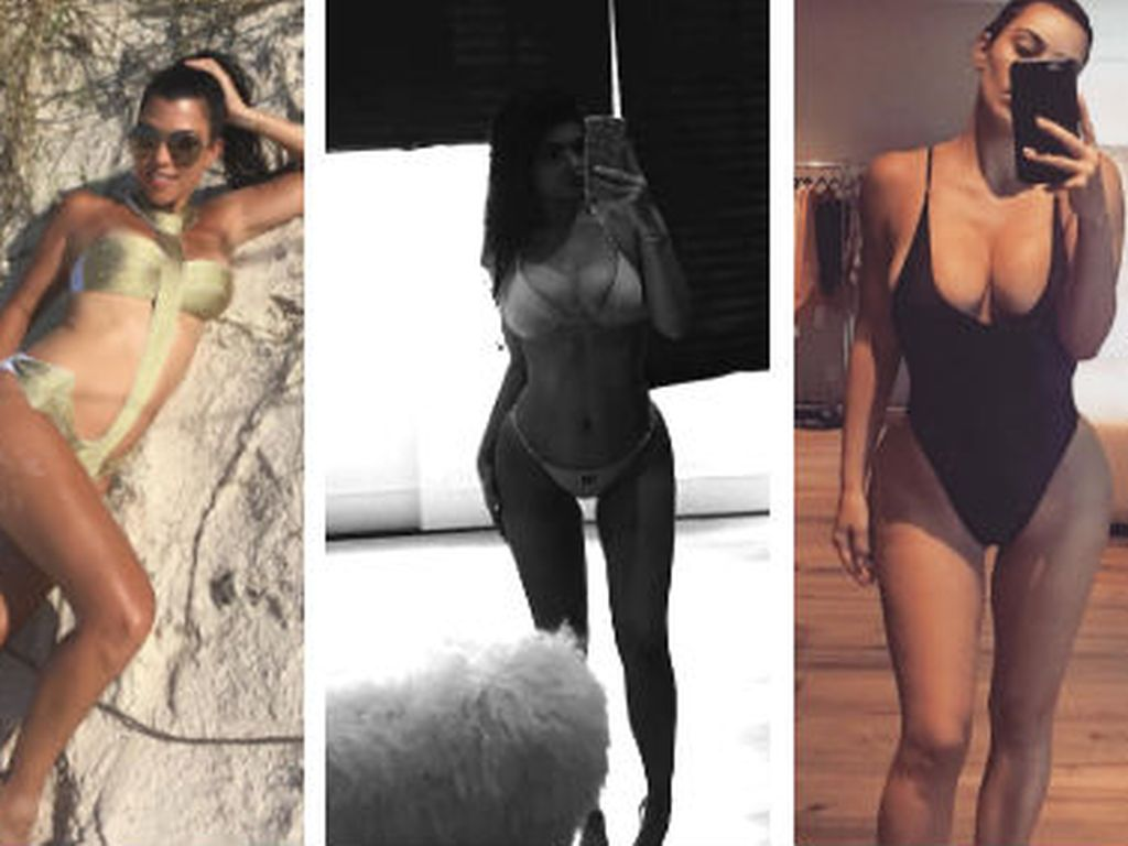 Die Schwestern Kourtney Kardashian, Kylie Jenner und Kim Kardashian