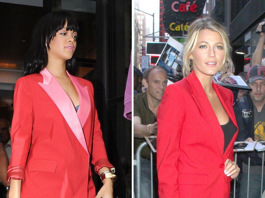 Rihanna und Blake im roten Anzug