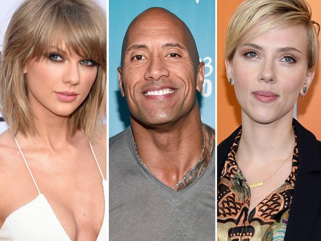 "Taylor Swift, Dwayne ""The Rock"" Johnson und Scarlett Johansson"