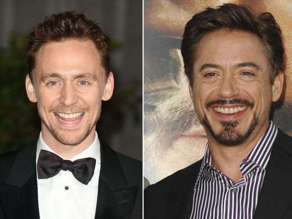 Schauspieler Tom Hiddleston und Robert Downey Jr.