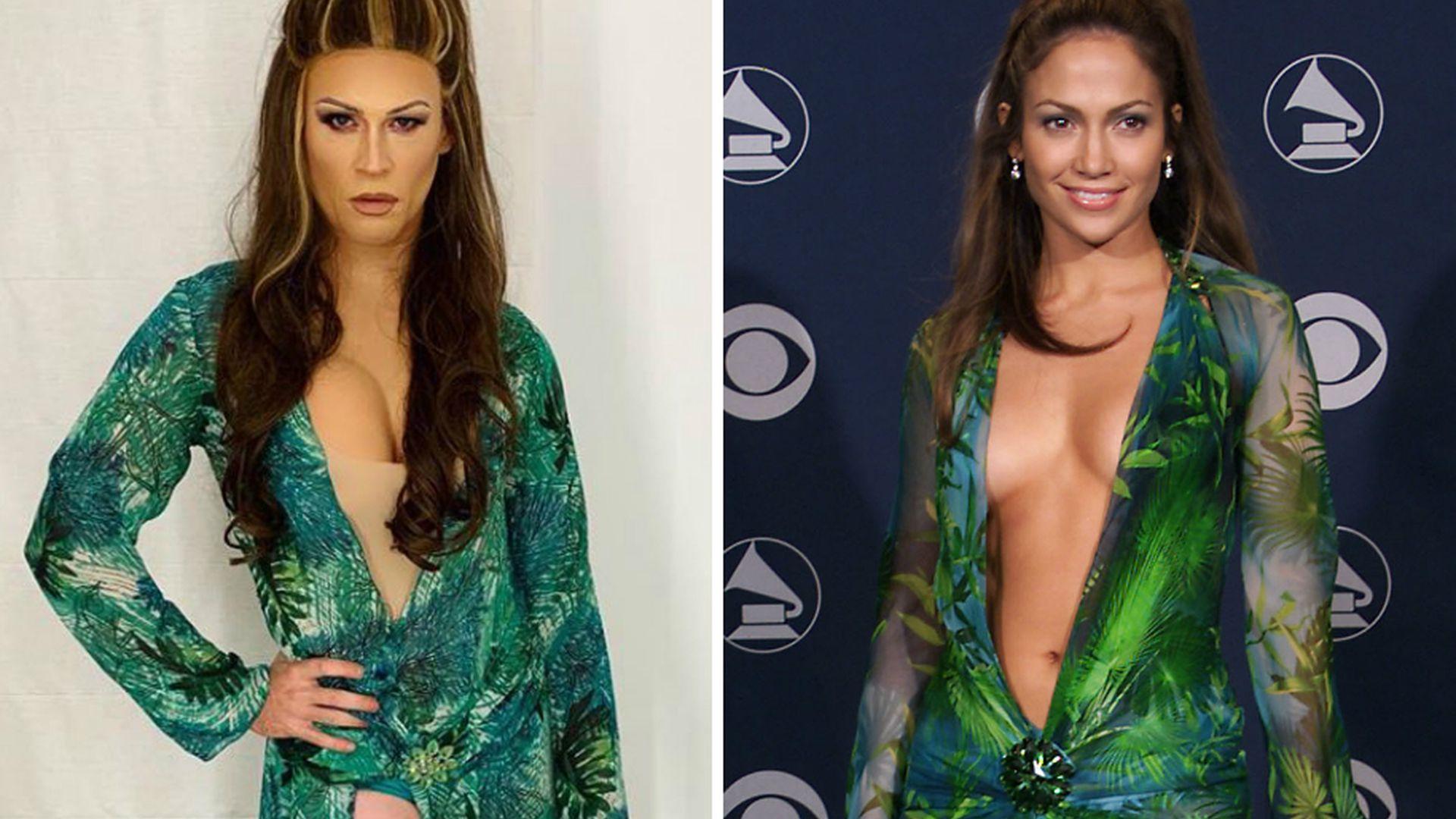 So ähnlich! TV-Host imitiert Jennifer Lopez' Versace-Look! - Promiflash.de