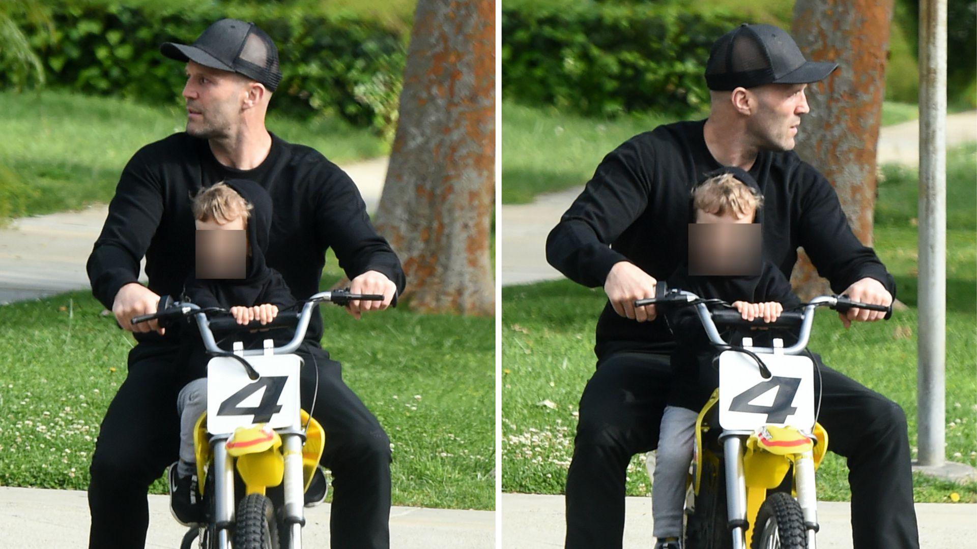 Total Suss Hier Fahrt Jason Statham Mit Sohnchen Motorrad Promiflash De