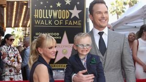 Anna Faris, Jack Pratt und Chris Pratt bei der Walk of Fame-Ehrung in Hollywood 2017