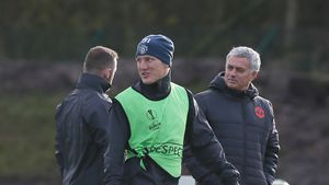 Bastian Schweinsteiger und José Mourinho beim Training