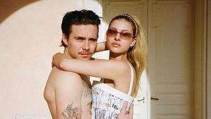 Oben ohne: Brooklyn Beckham und seine Nicola auf Schmusekurs