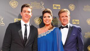 Carter Thicke, Tanya Callau und Alan Thicke bei den Emmy-Awards 2015 in Burbank