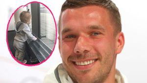 Collage von Lukas Podolski und seiner kleinen Tochter