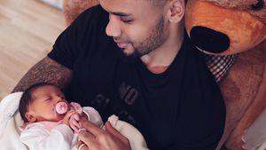 Stolzer Papa: Dominic Harrison knuddelt seine Mia Rose!