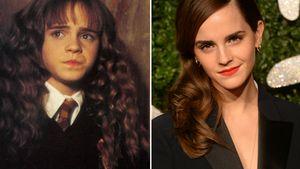 Emma Watson mit glatten und buschigen Haaren in einer Collage