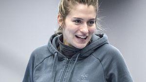 Estavana Polman im Publikum beim Spiel ihrer Mannschaft Team Esbjerg gegen Randers HK