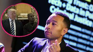 John Legend und Kanye West mit Trump