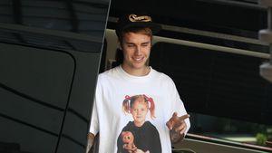 Witzig: Justin trägt ein Shirt mit Drew-Barrymore-Aufdruck