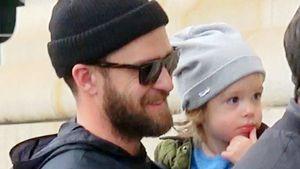 Musiker Justin Timberlake mit Sohn Silas in New York