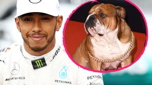 Lewis Hamilton mit seinem Hund