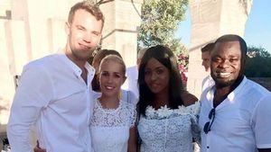 Manuel Neuer, Nina Weiss, Linda Asamoah und Gerald Asamoah im Juni 2017