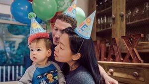 Mark Zuckerberg mit Frau Priscilla Chan und Tochter Max an ihrem ersten Geburtstag