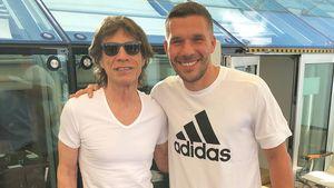 Treffen der Giganten: Poldi macht Fan-Foto mit Mick Jagger