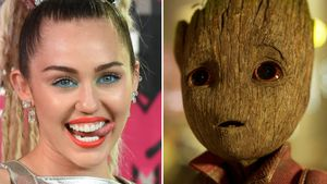 "Miley Cyrus und Groot aus ""Guardians Of The Galaxy"""