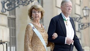 Prinzessin Désirée und Niclas Silfverschiöld bei der Ankunft zur Hochzeit von Prinzessin Madeleine