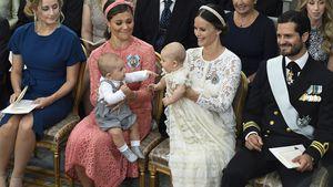 Prinzessin Victoria mit Prinz Oscar und Prinzessin Sofia und Prinz Alexander bei dessen Taufe