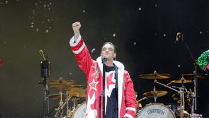 Robbie Williams auf einem Konzert in Manchester