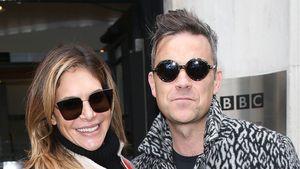Robbie Williams und Ehefrau Ayda Field im November 2016 vor dem Gebäude eines Radiosenders in London