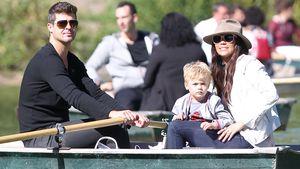 Robin Thicke, Paula Patton und ihr Sohn Julian beim Rudern