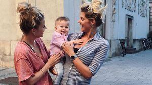 Sarah Nowak, Baby Noah und Freundin Laura Isabella (v.r.)