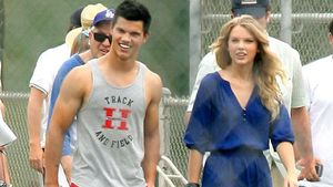 "Taylor Lautner und Taylor Swift am Set des Films ""Valentine's Day"" in Los Angeles, 2009"