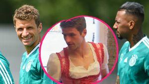 Thomas Müller im Dirndl: So gratuliert ihm Kumpel Boateng