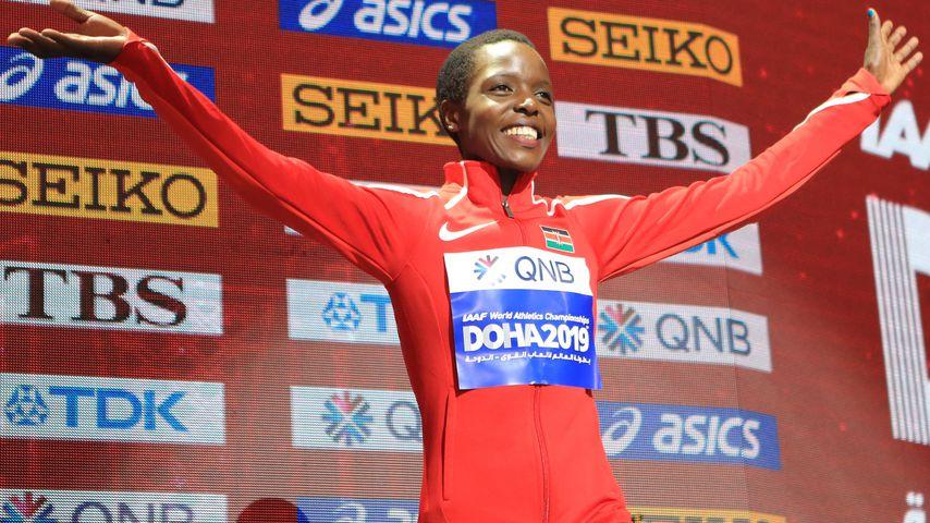 Agnes Tirop bei der Leichtathletikweltmeisterschaft in Katar, 2019